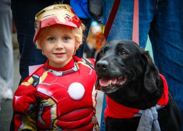 Ironman, Nolan (left) and his superhero friend kept the event safe from arch villains.