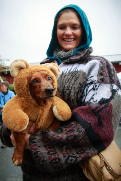 "Nancy Clark came accompanied with her rare ""beardog."""
