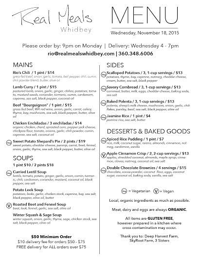 A sample of a weekly Real Meals Whidbey menu (designed by Rio Rayne)