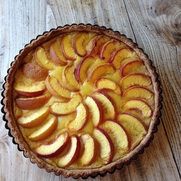 A freshly baked peach almond tart baked by Rayne (photo by Rio Rayne)