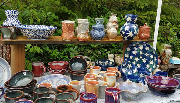 Some of the prolific and colorful pottery creations by Jodi Cable / Photo by Kate Poss
