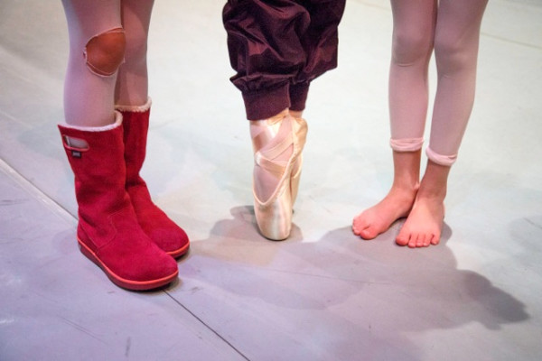 Foot attire in an unheated auditorium. (Photo by David Welton)