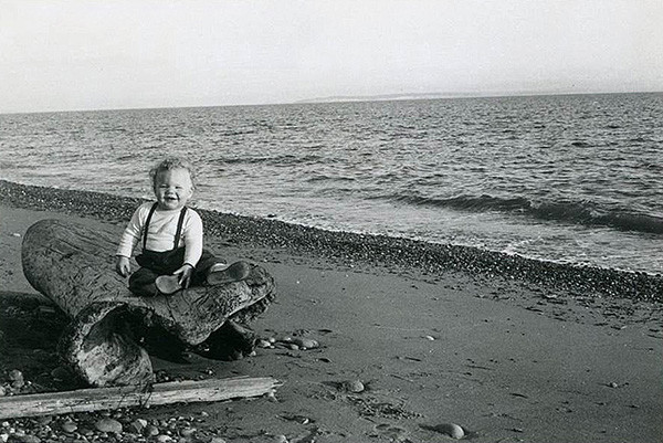 Toddler Nancy Conard at Ebey's Landing, 1955 (photo furnished by Nancy Conard)