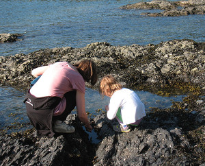 Wood's daughter and granddaughter at Low Tide, 2015   (photo by Frances Wood)