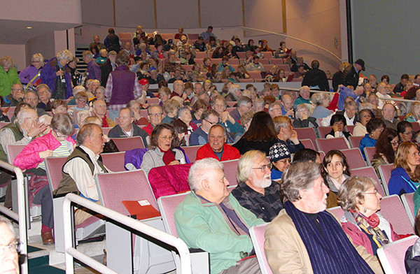 Some of last year's audience, arriving for the morning's keynote address (photo by Jill Hein)