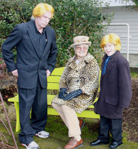 Outspoken Langley mayoral candidate Donald Tramp (John Ball), amateur sleuth Hagetha Kisstea (Chris Williams) and Tramp's grandson Max (Shayne Thomas). (photo by Sharon Lundahl)