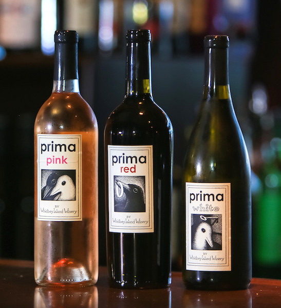 Prima Red, Prima White and Prima Pink are custom blends by Whidbey Island Winery. Label art by Dave Gignac. (photo by Chris Korrow)
