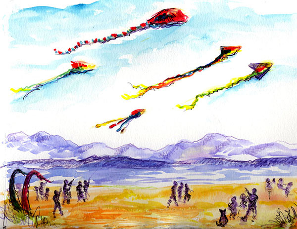 Kite festival at Fort Casey last fall   (sketch by Jean Mason)