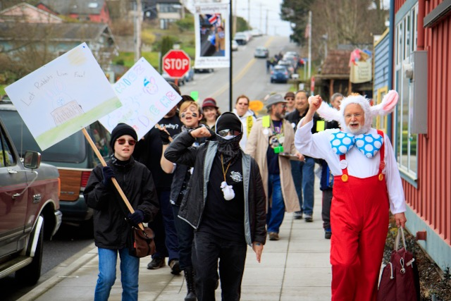 """On Saturday, the """"Let the Bunnies Roam Free"""" group led a rally along Anthes Avenue."""