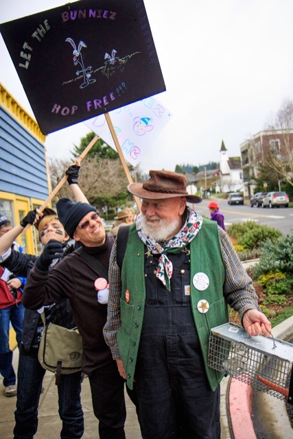 Eco-activists, led by Bugsy Bunie, confront 49er and would-be bunny trapper Daryl B. Mortacome.