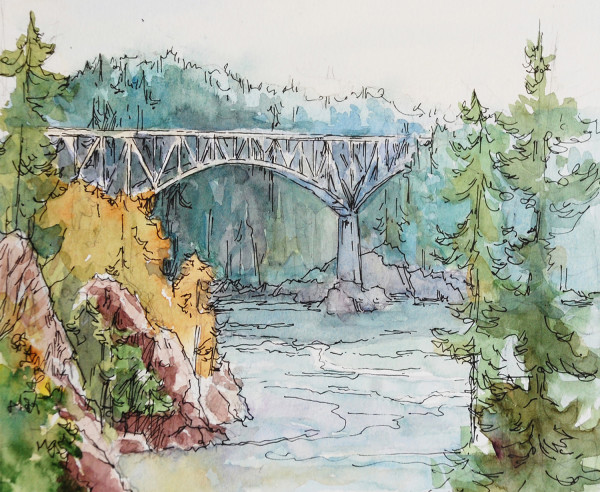 Deception Pass Bridge (sketch by Faye Castle)