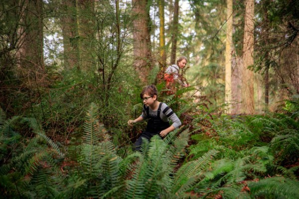 Like forest sprites, the students of the Calyx School are home in the forest of South Whidbey State Park.