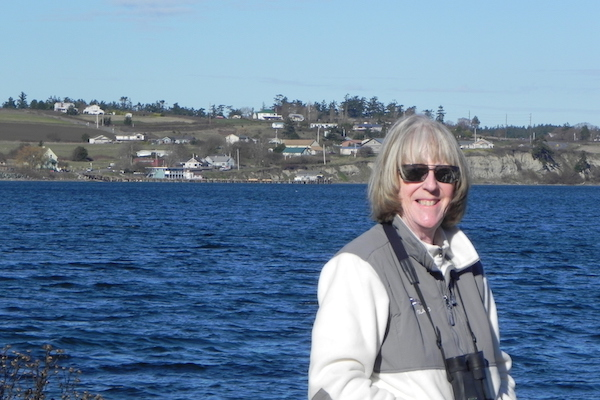 """Orca Network volunteer and author of """"Puget Sound Whales for Sale"""" Sandra Pollard (photo by Richard Snowberger)"""