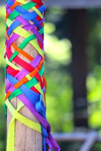 Woven ribbons create a pattern once dance is finished (photo courtesy of Whidbey Island Waldorf School)