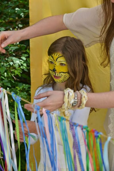 Face painting and ribbon wand (photo courtesy of Whidbey Island Waldorf School)