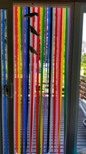 See-through strip curtains from Belgium help fund Langley Library programs and building improvements. (photo by Kate Poss)