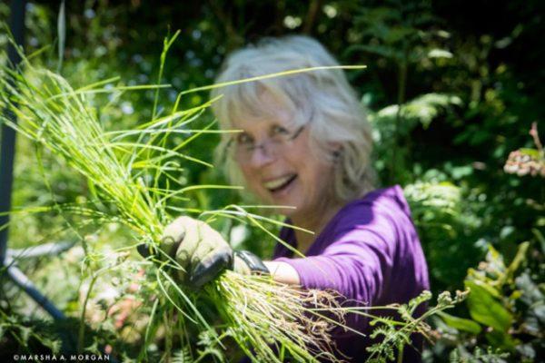Faye with weeds_Morgan