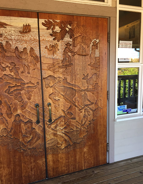 A portion of the front door of the Island County Historical Society Museum (photo by the author)