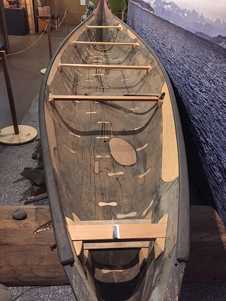 Snakelum canoe in the Island County Historical Society Museum (photo by the author)