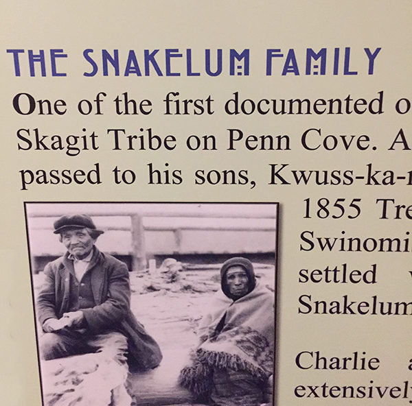A section of one of the displays at the museum with photo of Chief Snakelum on the left. (photo by author)