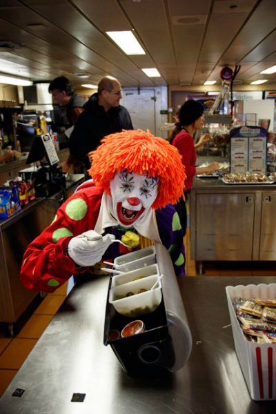 Deanno the Clown in a Whidbey ferry cafeteria. (Photo by David Welton)