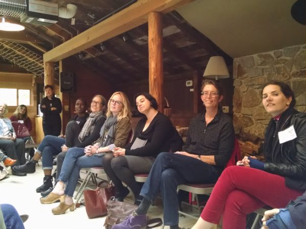 2016 Mentoring authors (right to left)—Hannah Tinti, Kate Gray, Laurie Frankel, Dani Shapiro, Ruth Ozeki, Natalie Braszile  (photo by the author)