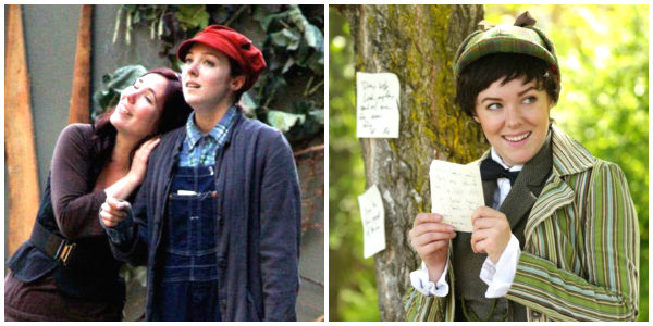 "Hodges as Rosalind in ""As You Like It"": Photo at left—Hodges (right) in 2010 with Bristol Branson (photo courtesy of ISF). Photo at right—Hodges this year (photo by Michael Stadler)"