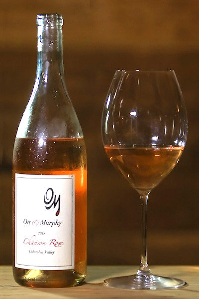 The colors of a sunset, OM's 2015 Chanson Rosé (photo courtesy of Chris Korrow)