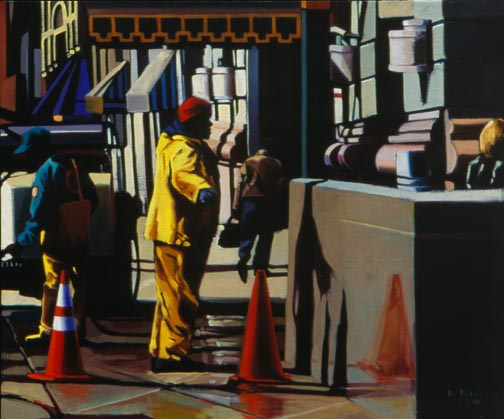 Street work; Anne Belov; Oil on Linen (c) the artist