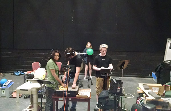 "Making ""radio"" plays for the first time can be messy work. (photo by Judith Walcutt)"