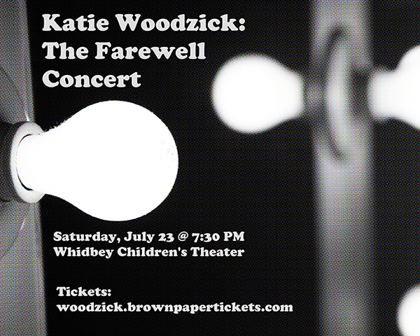Poster for Woodzick's July 23 concert at Whidbey Children's Theater