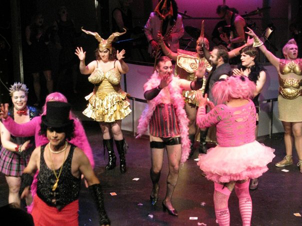 "Curtain call shot from ""The Rocky Horror Show,"" in which Woodzick played Magenta. (photo by April Forde)"