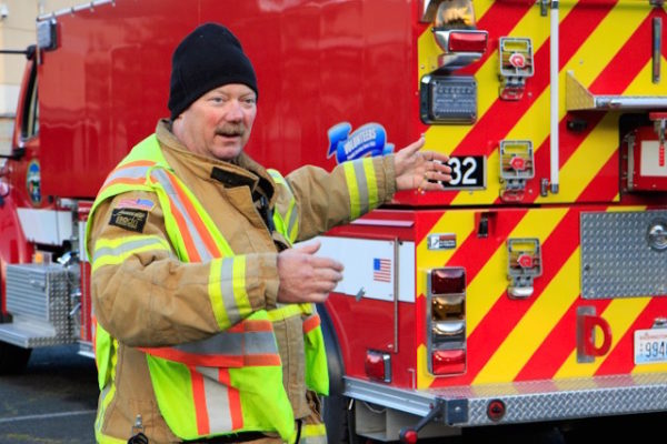 Captain Jerry Beck details the fine points of tanker truck operation.
