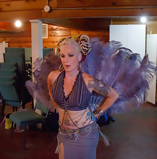"Siobhan rehearsing before the show. ""It's the costumes for me,"" she said. ""The way the costume looks and feels puts me in performance mode."""