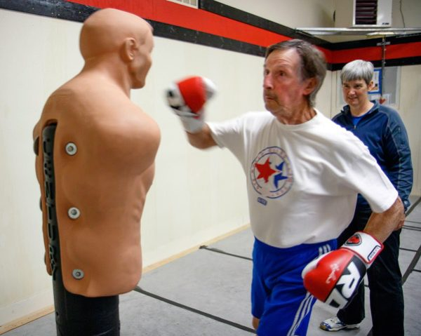 During class, the boxer's safety and well-being is carefully attended to.