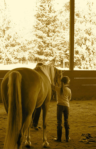 Shy girl and Savannah—horses accept us whenever we show up authentically. Shy is fine. (photo courtesy of Peggy Gilmer)