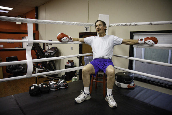 Ed takes a break from sparring in the ring.