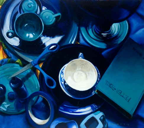 "Forty shades of Blue Oil on panel 16""x18"" (c) Anne Belov"
