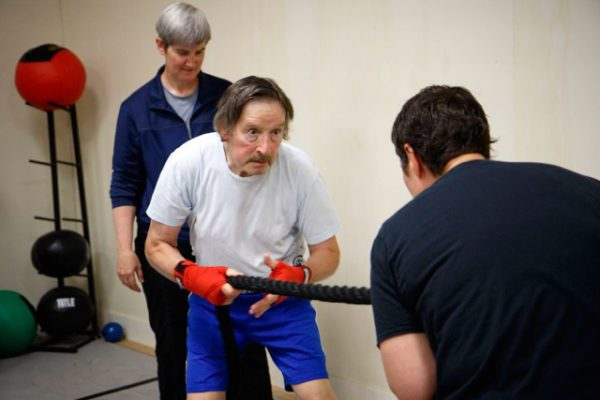Physical Therapist Sue Taves consulted with Solid Stone Boxing to develop this community-based fitness class for people with Parkinson's disease.