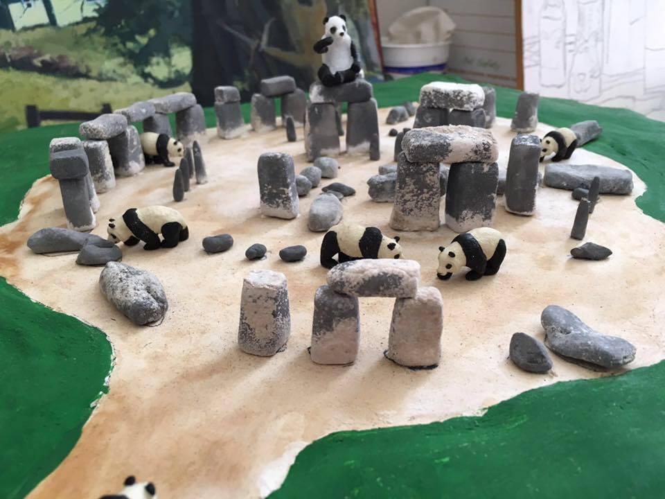 Stonehenge was built by Pandas / Photo Robin Obata / Stonehenge construction by Emi Hastings / Panda placement by Anne Belov