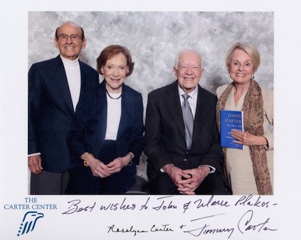 Marie Plakos, right, with President Carter and Roslyn Carter, center, and her husband John on the left. (photo courtesy of Marie Plakos)