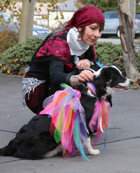 Woman squatting beside border collie in a tutu.