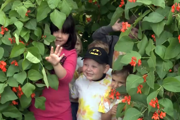 "Students wave from a teepee of scarlet runner beans in their school garden. (from the film ""Cultivating Kids"" by Mark Dworkin and Melissa Young)"