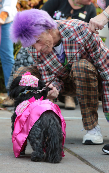 "Man in purple wig ""interviewing"" a dog."