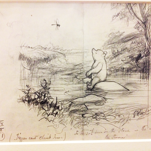 Winnie the Pooh, contemplating nature / drawing by Ernest H. Shepard from a collection in the Victoria and Albert Museum (photo by Anne Belov, courtesy of the V & A)