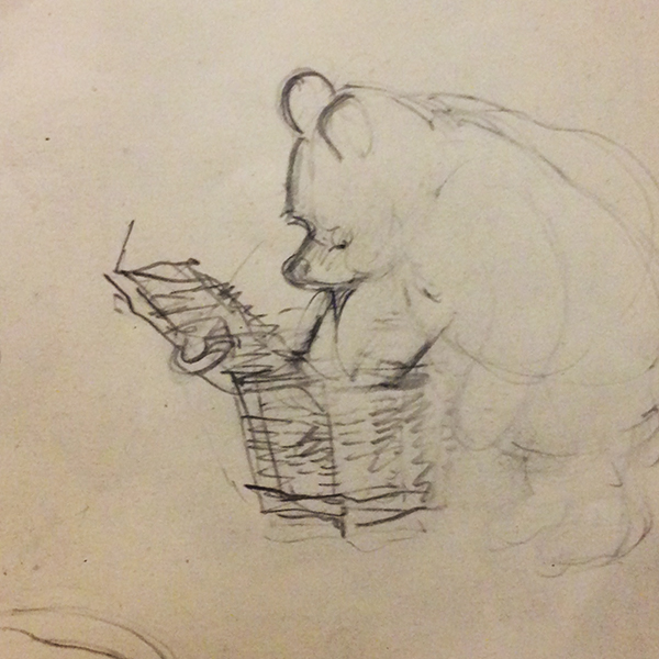 Rough sketch of Pooh / drawing by Ernest H. Shepard from a collection in the Victoria and Albert Museum (photo by Anne Belov, courtesy of the V & A)