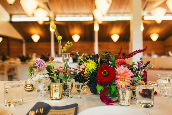 Weddding reception centerpiece by Melissa Brown, Flying Bear Farm. Photo by Krista Welch, Love Song Photo