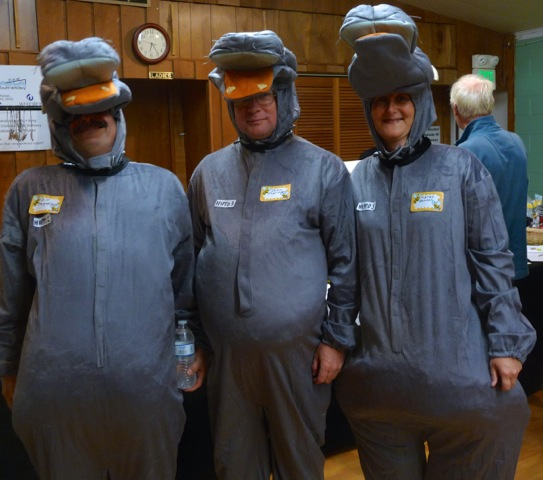 Elaborate costumes included the gray hippos, representing hippopotomonstrosesquipedaliophobia: the fear of long words. (photo by Marcia Wiley)