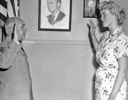 Margarethe Cammermeyer is sworn in as a recruit for the Women's Army Corps, 1961 (Photo courtesy Margarethe Cammermeyer)
