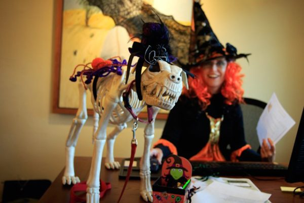 Woman in witch costume behind skeleton decoration